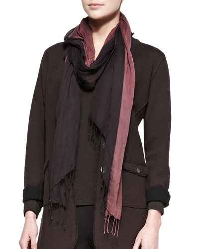 Metallic-Border Striped Modal Scarf, Coffee