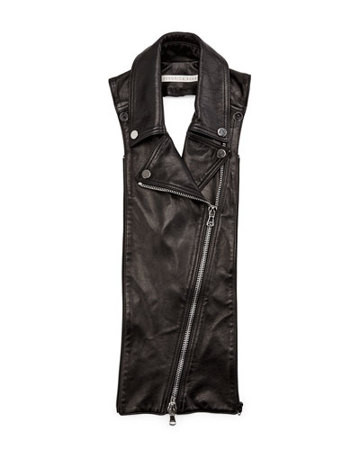 Biker Leather Lapel Dickey, Black