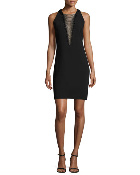 Carmen Marc Valvo Sleeveless Illusion Beaded V-Neck Cocktail