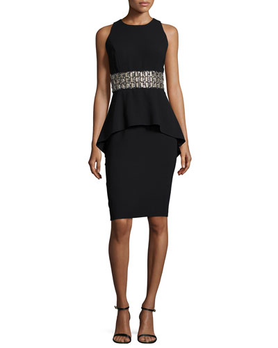 Sleeveless Beaded-Waist Peplum Cocktail Dress