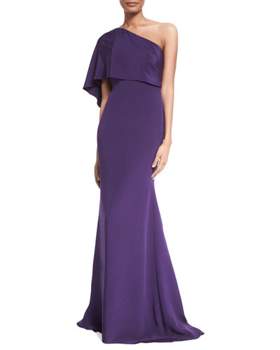 One-Shoulder Draped Gown, Purple