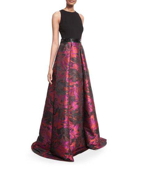 Carmen Marc Valvo Sleeveless Combo Full-Skirt Gown