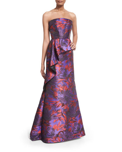 Strapless Floral-Print Peplum Gown