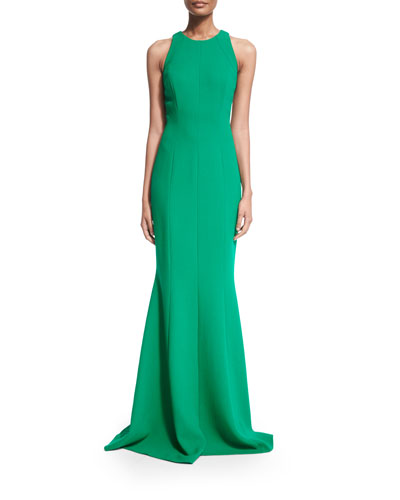 Sleeveless Jewel-Neck Column Gown