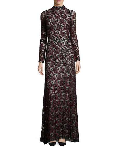 Alice + Olivia Long-Sleeve Mock-Neck Beaded Paisley Gown