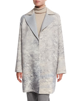 Wallace Oversize Mid-Length Coat, Raffia Multi
