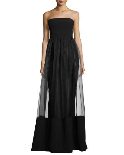 Strapless Column Gown W/ Illusion