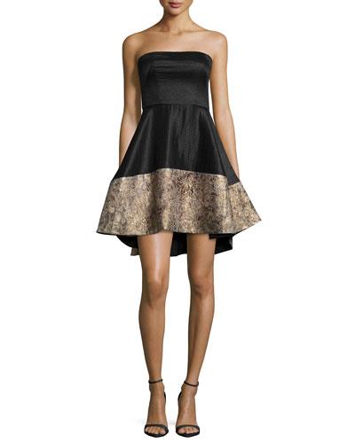 Strapless Cocktail Dress W/ Jacquard Hem