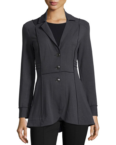 Three-Button Seamed Riding Jacket, Petite