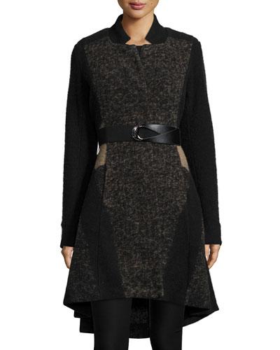 Textured Twirl High-Low Coat, Petite
