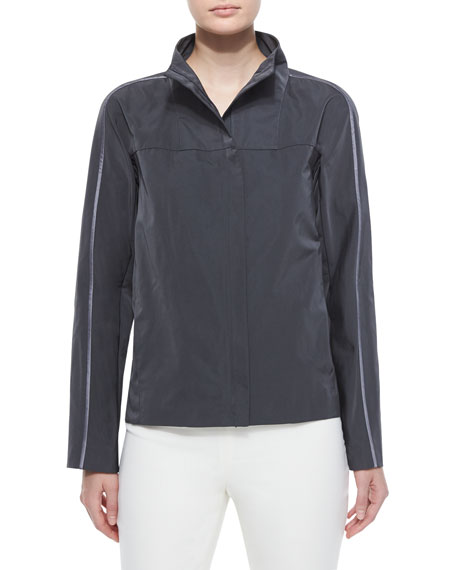 Lafayette 148 New York Kim Long-Sleeve Topper, Pewter