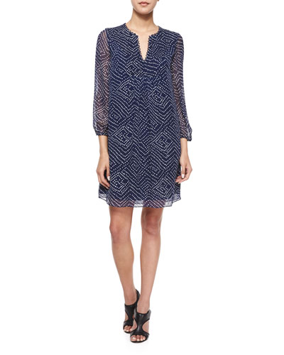 Aria Printed Silk Tunic Dress, Batik Midnight