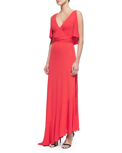 Cold-Shoulder High-Slit Gown