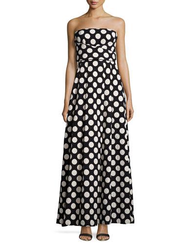 Strapless Crisscross-Front Polka-Dot Gown, Black/Ecru
