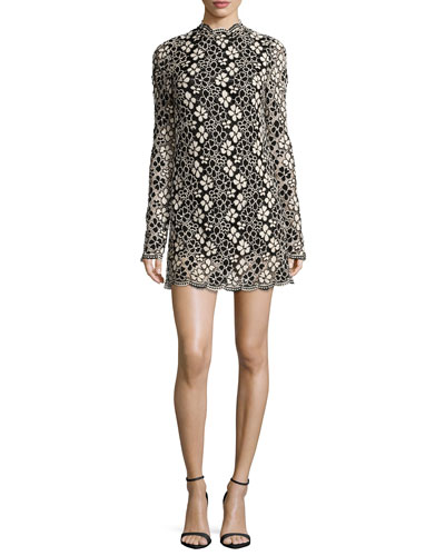 Long-Sleeve Mock-Neck Lace Mini Dress, Black/Cassava