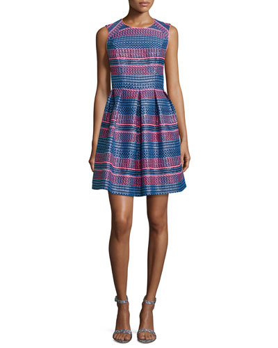 Sleeveless Stripe Fit-&-Flare Dress, Neon Stripe