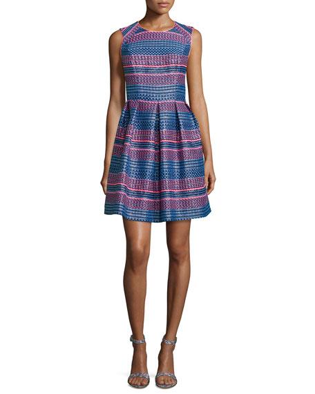 Shoshanna Sleeveless Stripe Fit-&-Flare Dress, Neon Stripe