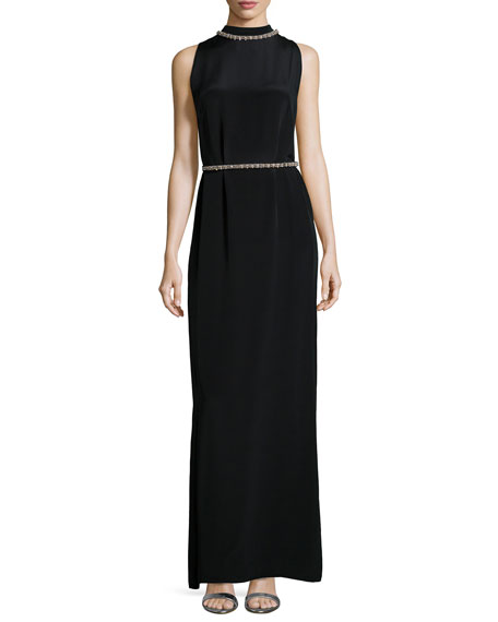 Shoshanna Sleeveless Beaded-Neck/Waist Column Gown