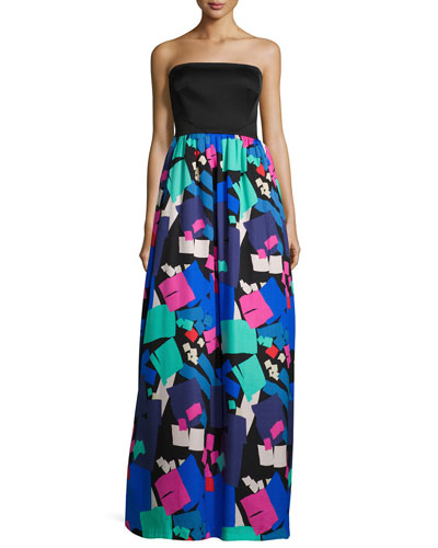Strapless Combo Confetti-Print Gown