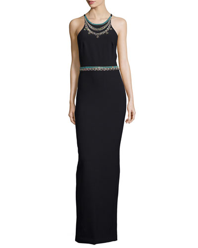 Sleeveless Beaded Open-Back Column Gown