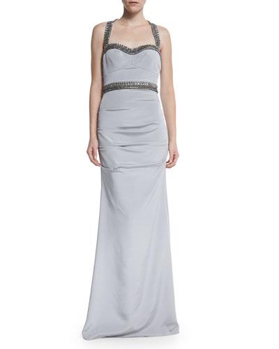 Sleeveless Sweetheart Beaded-Waist Gown