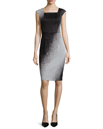 Cap-Sleeve Mirage Ombre Sheath Dress, Pearl Gray/Black