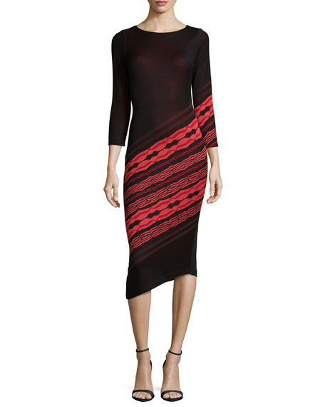 Yoana Baraschi 3/4-Sleeve Angled-Stripe Dress, Black/Ruby Coral