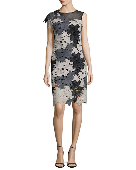 Yoana Baraschi Ceres Illusion One-Sleeve Lace Dress, Black/Gray