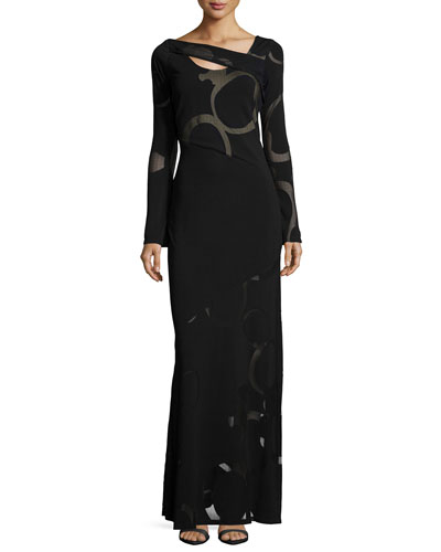 Venus Asymmetric-Neck Gown, Black