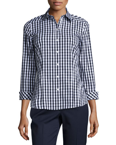 Janessa 3/4-Sleeve Gingham Blouse