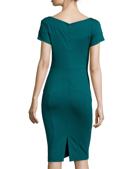 Short-Sleeve Ponte Body-Conscious Sheath Dress