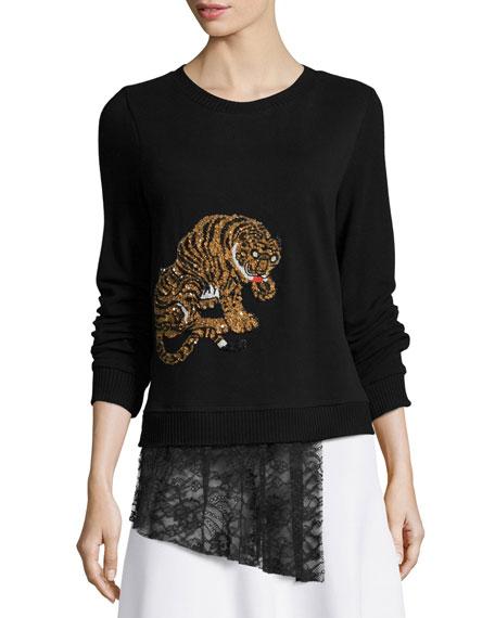 Nicole Miller Artelier Tiger-Embellished Sweater