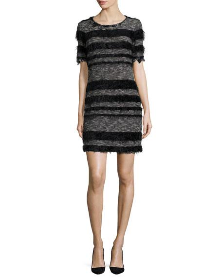 Nicole Miller Artelier Short-Sleeve Striped Sheath Dress