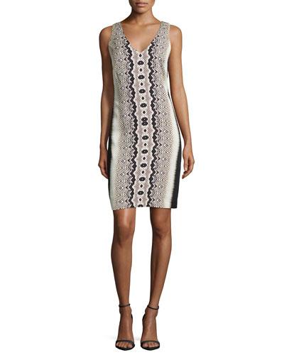 Sleeveless Snakeskin-Print Dress