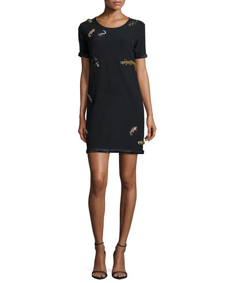 Nicole Miller Crewneck Alligator-Embellished Dress
