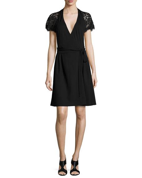 Diane von Furstenberg Elizabeth Lace-Sleeve Wrap Dress