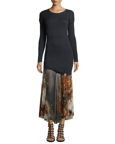 Long-Sleeve Sweater Top Dress W/ Mesh Skirt