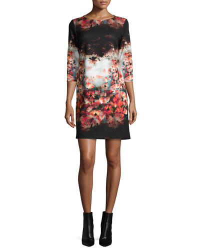 3/4-Sleeve Printed Shift Dress