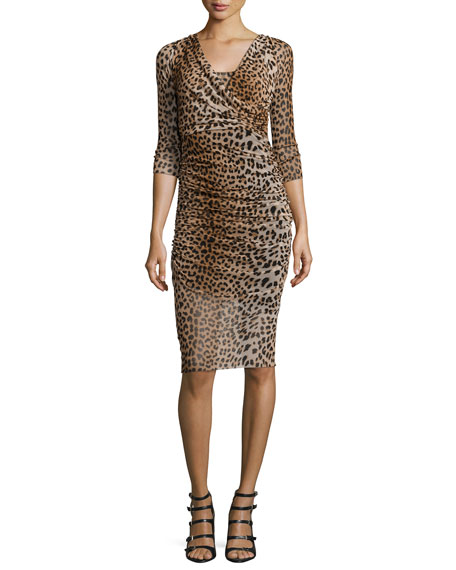 Fuzzi 3/4-Sleeve Leopard-Print Ruched Dress