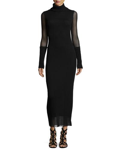 Turtleneck Sheer-Sleeve Body-Conscious Dress