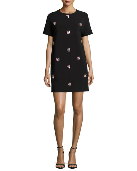 kate spade new york short-sleeve embellished a-line dress