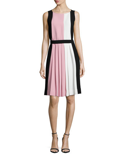 sleeveless colorblock pleated dress