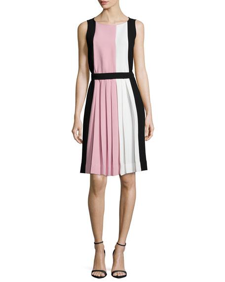 sleeveless colorblock pleated dress