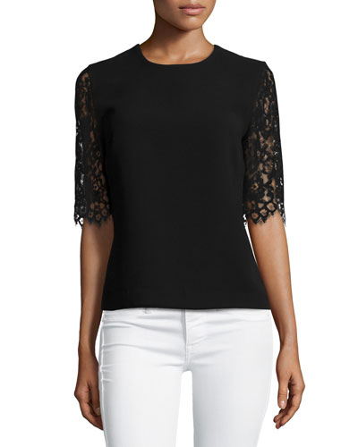 lace-sleeve crewneck top