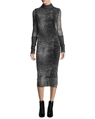 Turtleneck Printed Body-Conscious Dress