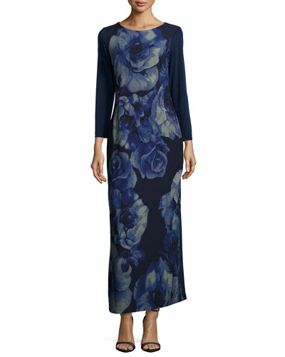 Rosette-Print Long-Sleeve Maxi Dress, Women