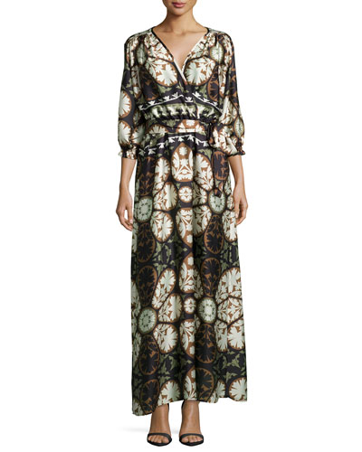 Pine Mandala Printed Wrap Maxi Dress