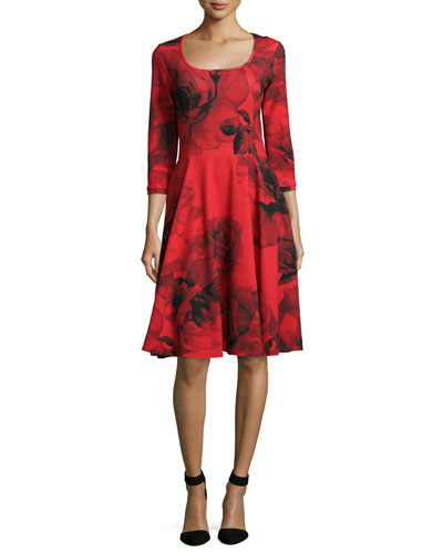 3/4-Sleeve Rosette-Print Fit & Flare Dress, Women