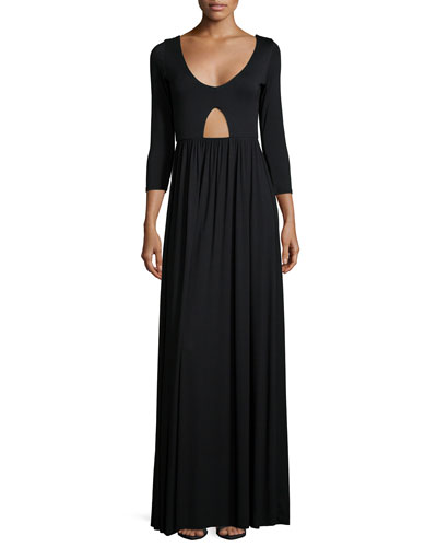 Dakota 3/4-Sleeve Cutout Dress, Black