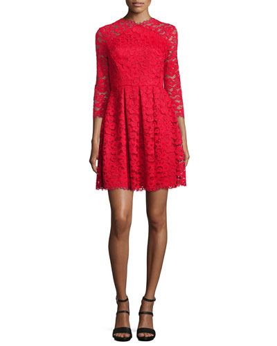 Farrah 3/4-Sleeve Lace Mini Dress, Merlot